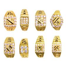 jewelry large rings images 22ct yellow gold cz stones men 39 s large rings mixed design jpg