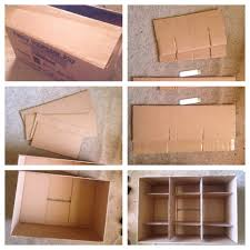 making a storage box with dividers using just a cardboard box and