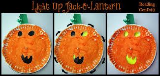 light up pumpkins for halloween light up pumpkin paper plate craft reading confetti