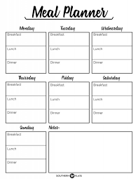 lunch box planner template free printable menu planner sheet southern plate