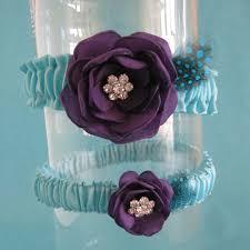 tiffany blue and dark purple feather rose wedding garter set d022
