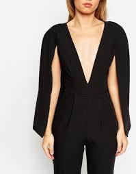 cape jumpsuit lyst asos jumpsuit with cape detail in black