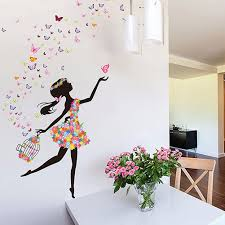 hot 4 styles flowers butterfly fairy girl design wall sticker getsubject aeproduct