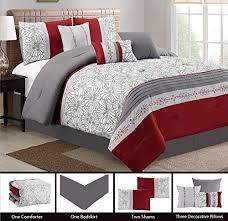 Rose Tree Symphony Comforter Set Modern 7 Piece Embroidered Bedding Burgundy Red White Grey Pin