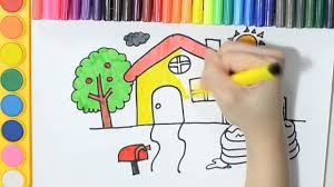 learning how to draw and colour disney play house with swimming