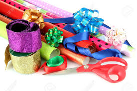 christmas ribbons and bows rolls of christmas wrapping paper with ribbons bows isolated