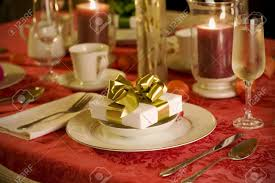 Elegant Table Settings by Elegant Christmas Table Setting In Red With Gold Gift As Focal