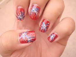 12 firework toe nail design red white blue nails fireworks nails