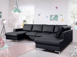 canapé panoramique en cuir canapé panoramique convertible simili cuir avec coffre lilly noir