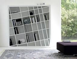modern bookcase also with a hanging shelves also with a small wall