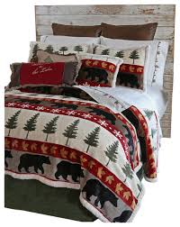 Cabin Bed Sets Tall Pine 5 Piece Plush Cabin Bedding Set Rustic Comforters