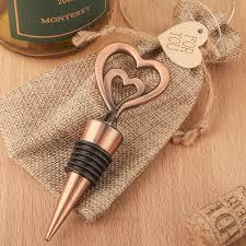 wine bottle wedding favors copper heart wine bottle stopper wedding favors heart