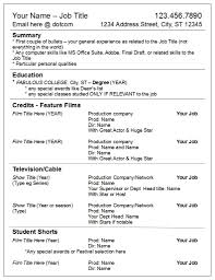 name resume divide your credits by media not department u2013 robyn coburn résumé