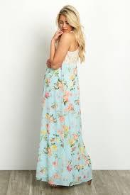 Light Blue Chiffon Dress Crochet Top Floral Chiffon Bottom Maternity Maxi Dress