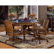 Kitchen Table With Caster Chairs Hillsdale Harding 5 Piece Game Table Set Rich Cherry Hayneedle
