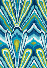 kitchen cushions in trina turk peacock print pool