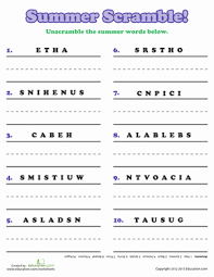 3rd grade word scramble and searches worksheets education com