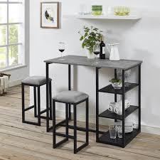concrete top bar table dorel living jimi 3 piece gray black pub set with faux concrete