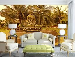 3d murals buddha statue coconut trees backdrop large murals 3d mural