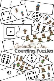 groundhog counting puzzles printable simple fun kids