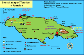 jamaica physical map tourism in the tropics