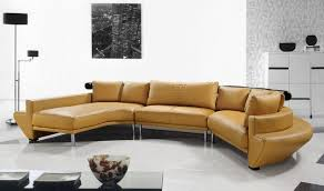 Contemporary Curved Sectional Sofa In Mustard Leather Modern - Curved contemporary sofa living room furniture