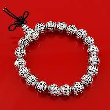 bracelet beads silver images Handmade 925 silver om mani padme hum beads mala bracelet buddhist jpg