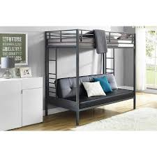 DHP Jasper Premium Twin Over Futon Bunk Bed With Black Faux - Futon bunk bed