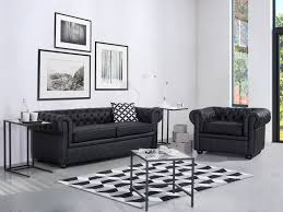 Sofa Chesterfield Tufted Leather Sofa Black Chesterfield Beliani