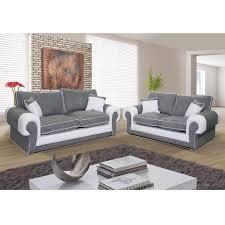 ensemble canape 3 et 2 places canapé 3 places et canapé 2 places nubuk gris pvc blanc samba dya