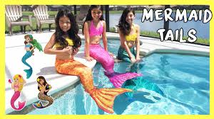 mermaid tails for halloween fin fun mermaid tails live mermaids swimming in our pool youtube