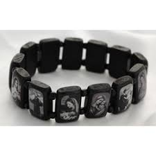saints bracelet wood saints bracelet xl fit black white images the