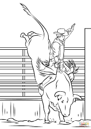 bull riding rodeo coloring page free printable coloring pages