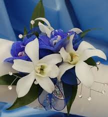blue orchid corsage white orchid and delphinium corsage blue