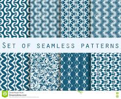set of seamless patterns with geometric shapes the pattern for