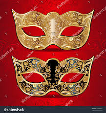 vector illustration gold black carnival mask stock vector