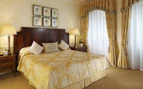 Cream Bedding And Curtains Dark Brown Wooden Windows With Cream White Bedding Set Placed On
