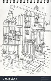 freehand drawing thai style coffee shop stock illustration