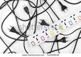 Messy Wires Messy Electrical Cords Plugs Wires Unconnected Stock Photo