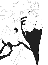 naruto kyuubi mode lineart by advance996 on deviantart