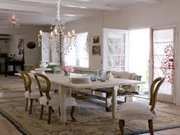french country formal dining room white brick stone wall cylinder