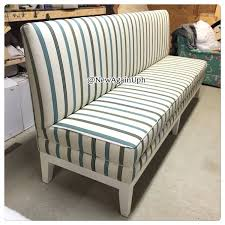 striped banquette bench with white wood legs for home furniture