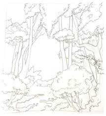 drawn forest simple pencil and in color drawn forest simple