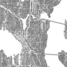 Seattle Washington Map Seattle Map Print Washington Usa Roads U2013 Maps As Art