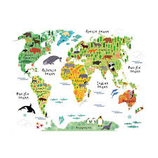 home decor online sales wall sticker large colorful world map sticker educational kids