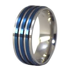 mens stainless steel rings silver blue fashion ring stainless steel band