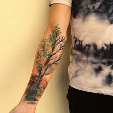 watercolor birch tree on right forearm