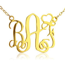 monogram letter personalized name necklaces gold color monogram letter necklace