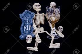 halloween skeleton images scary halloween skeleton with rip headstone and glass of skeleton