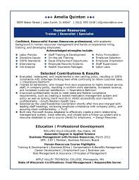 generalist sample resumes resume for a human resources generalist